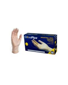 GlovePlus Clear Vinyl Disposable Gloves [Large] (100 Count)