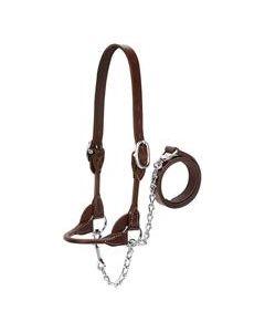 Halter - Leather Rounded/Flat Strap Heifer Black