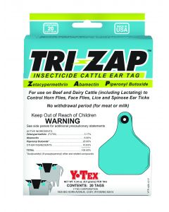 Tri-Zap Insecticide Cattle Ear Tag 100 Count
